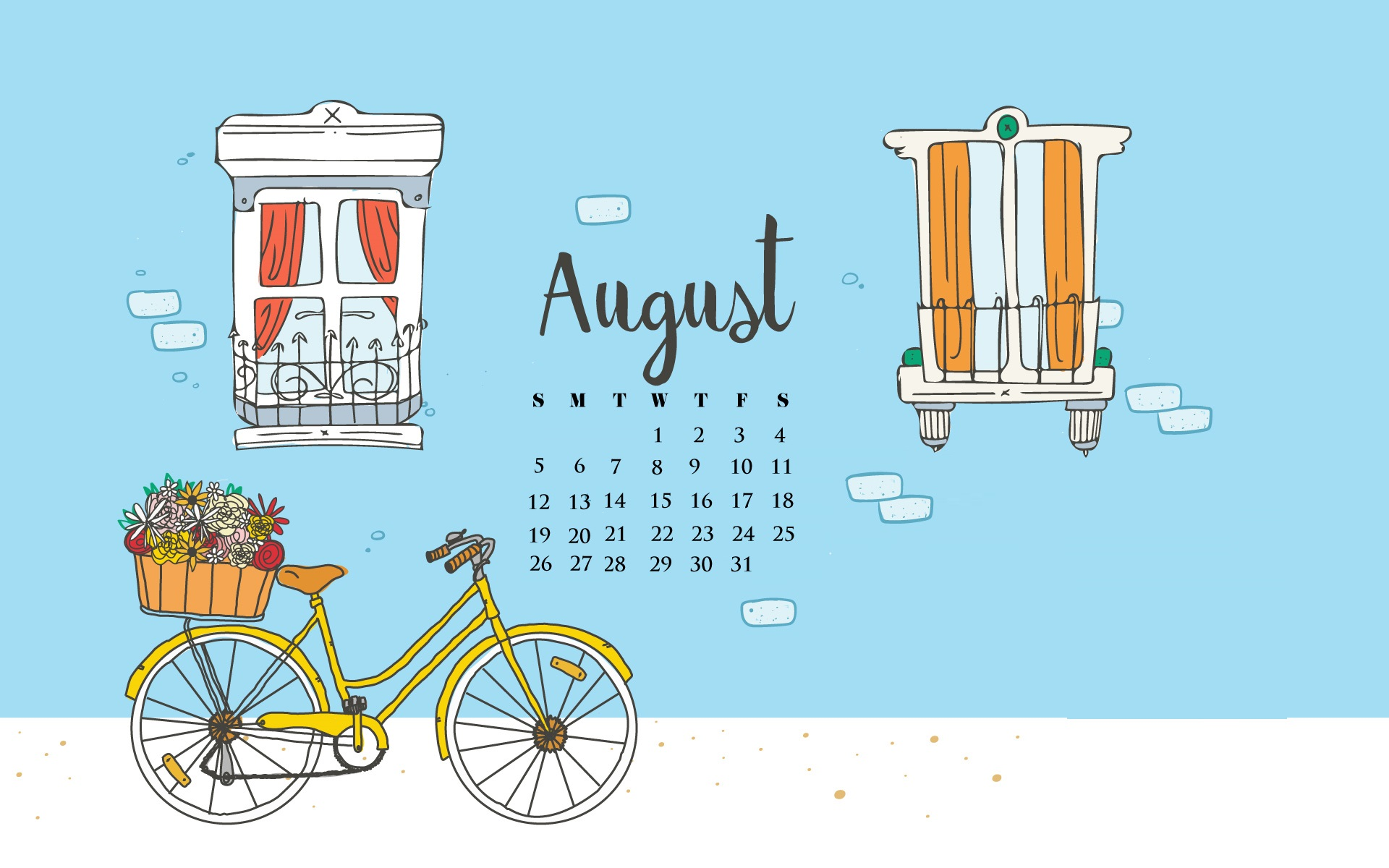 Free August 2018 Calendar Wallpapers