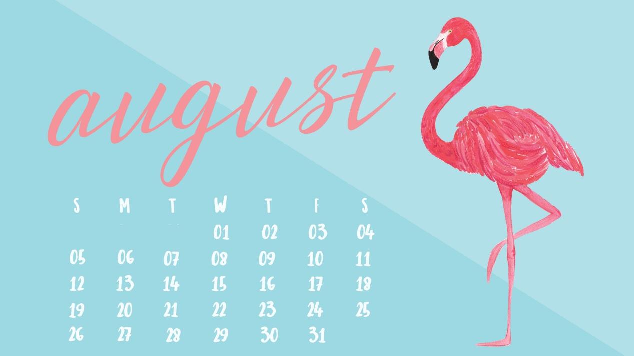 Free August 2018 Desktop Calendar