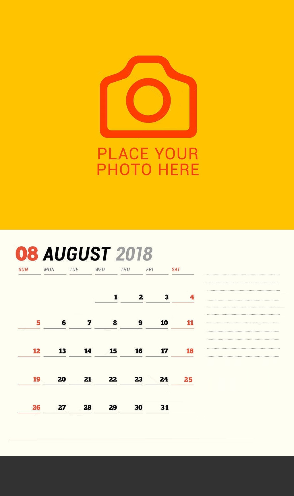 Free August 2018 Personalized Calendar