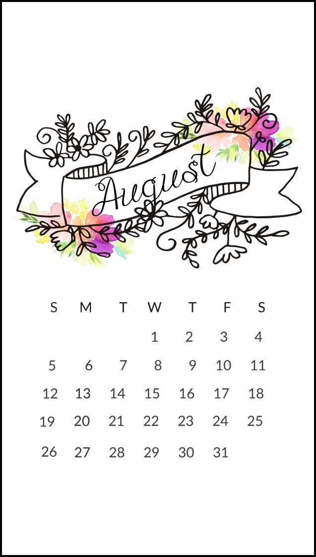 Free August 2018 iPhone Calendar Wallpapers