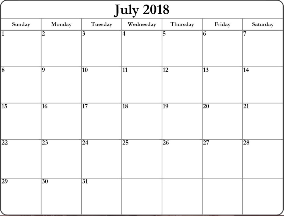 Free Blank Templates July 2018