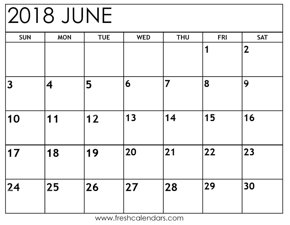 Free Calendar For June 2018 Download