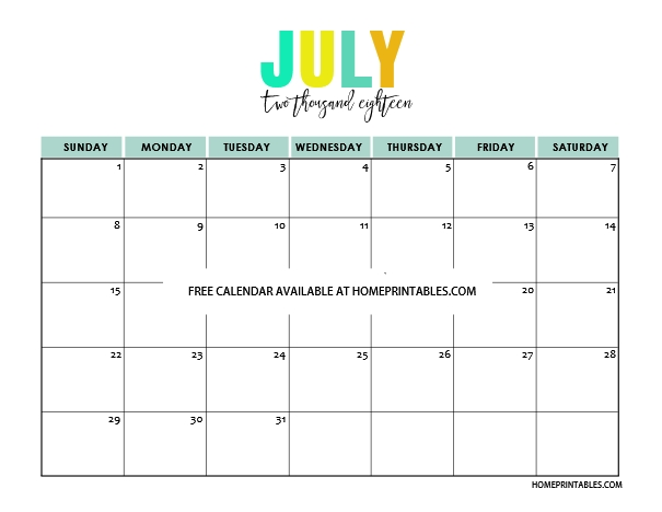 free Calendar for July 2018