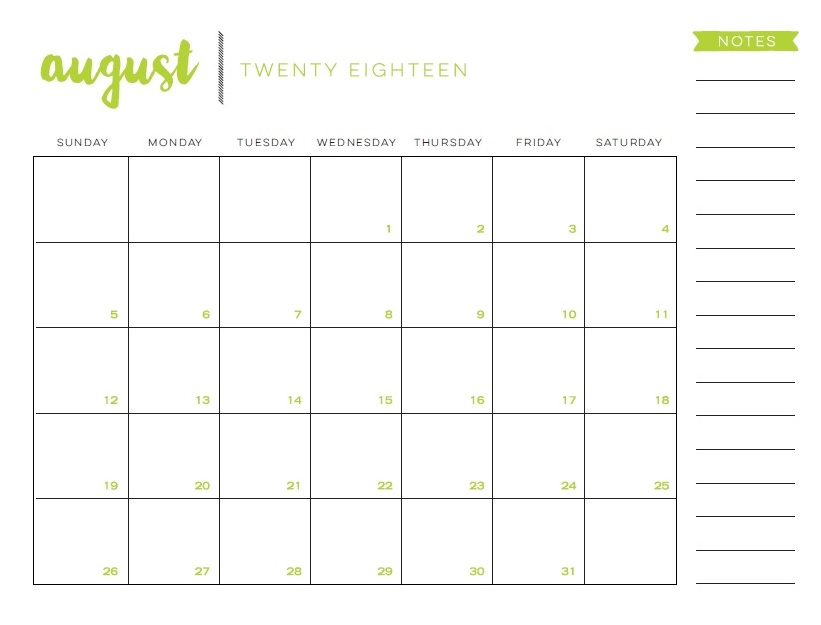 Free Canada August 2018 Holidays Calendar