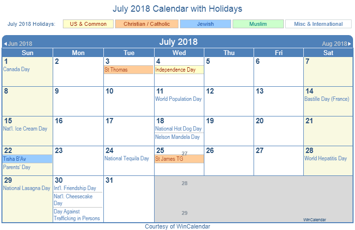 Free July 2018 Calendar With Holidays