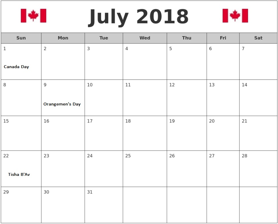 Free July 2018 Holiday Calendar For Canada