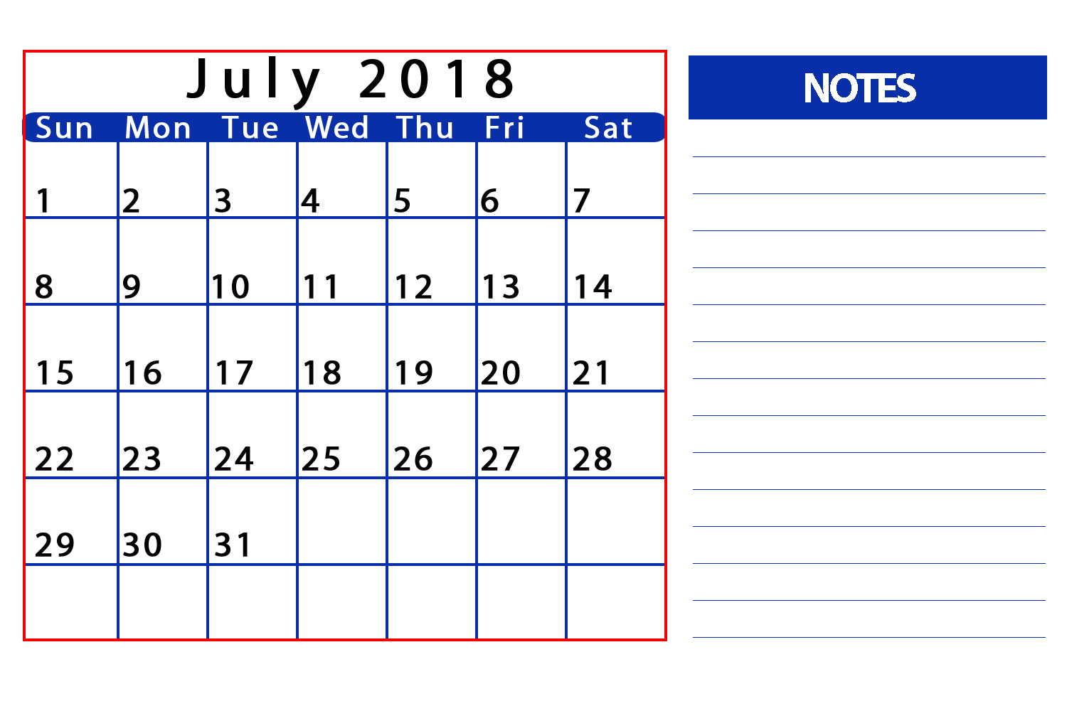 Free July 2018 Printable Calendar With Notes