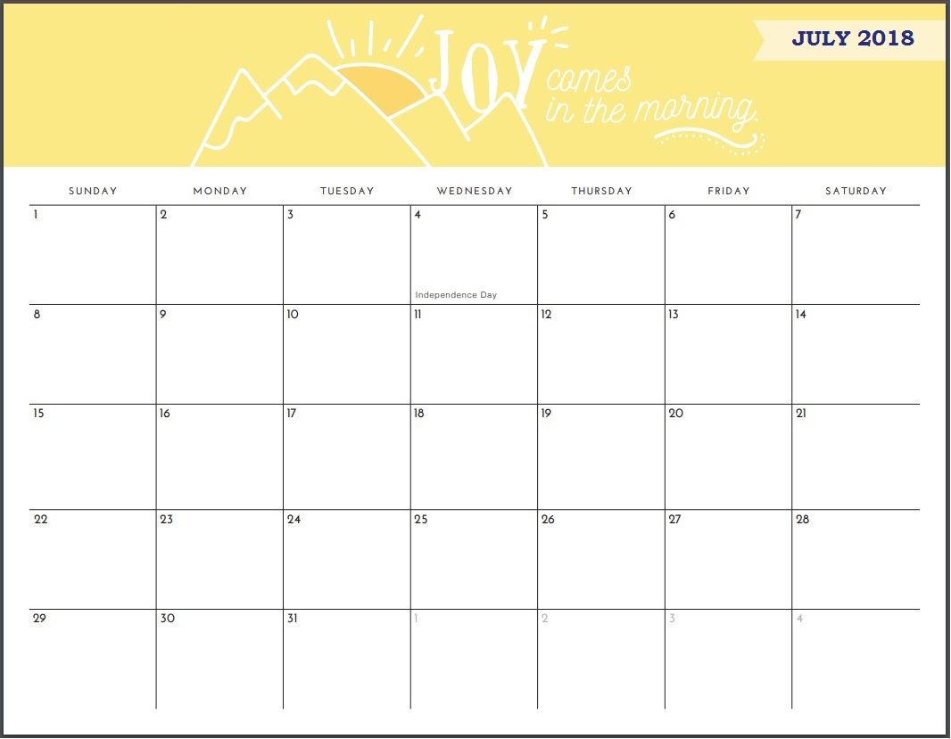 Free July 2018 Quotes Calendar