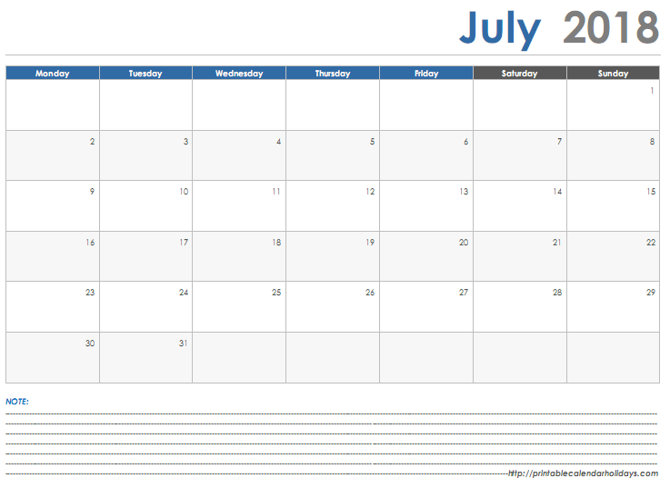 Free July Calendar 2018 With Notes