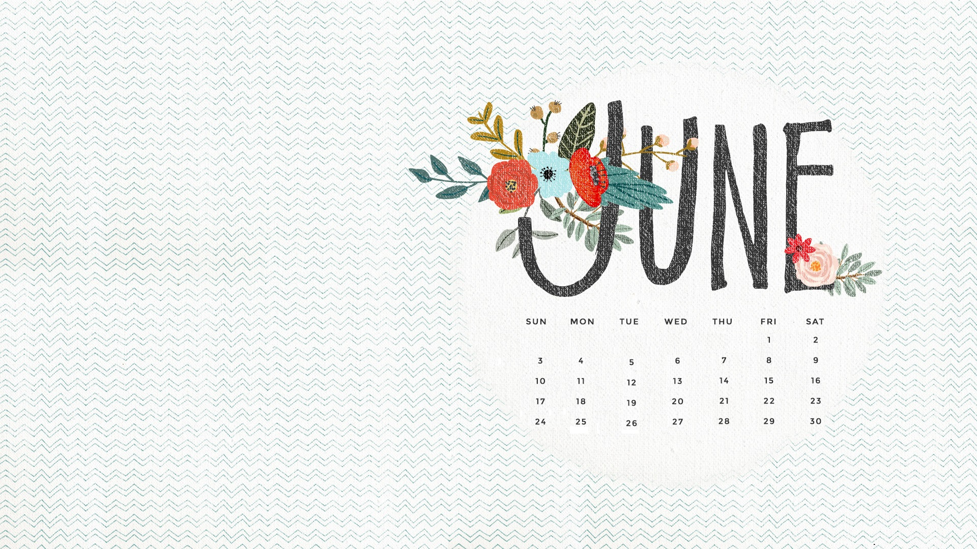 Free June 2018 HD Calendar Wallpaper