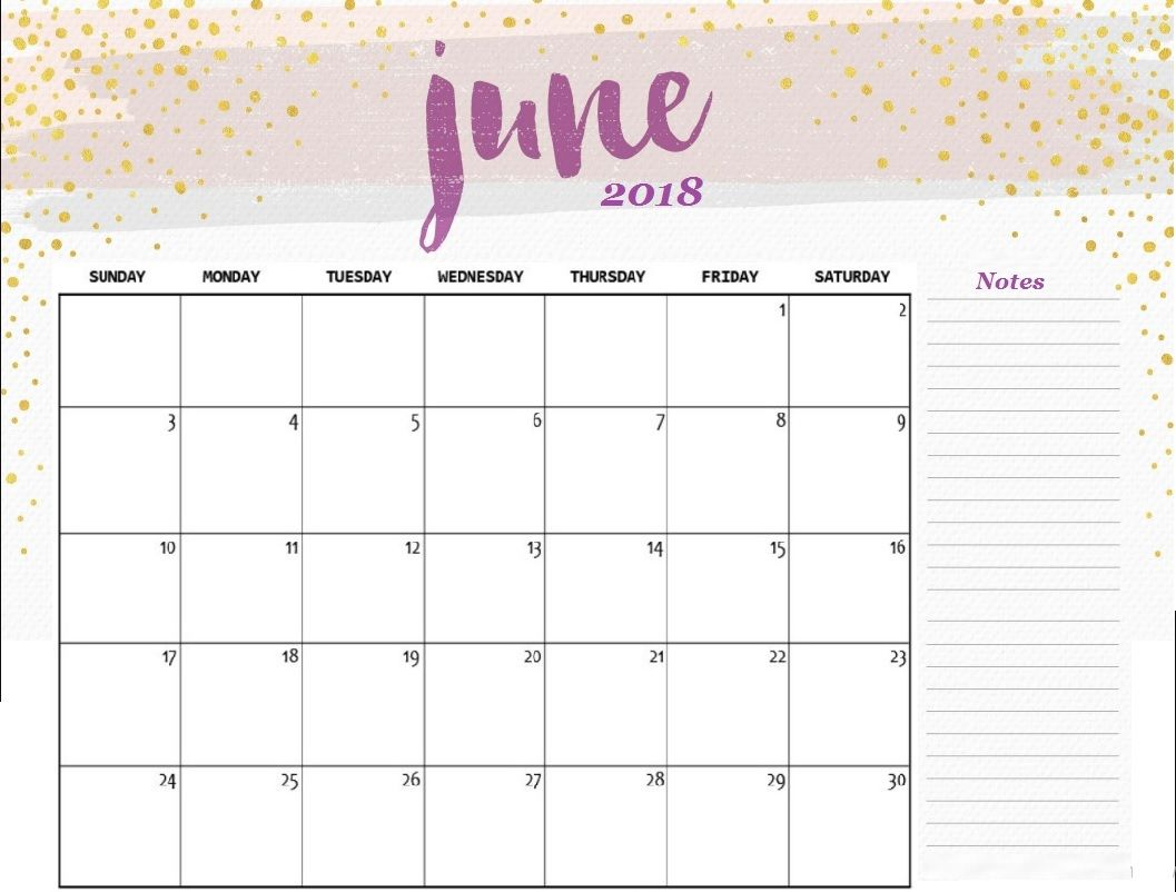 Free June 2018 HD Calendar for Desk
