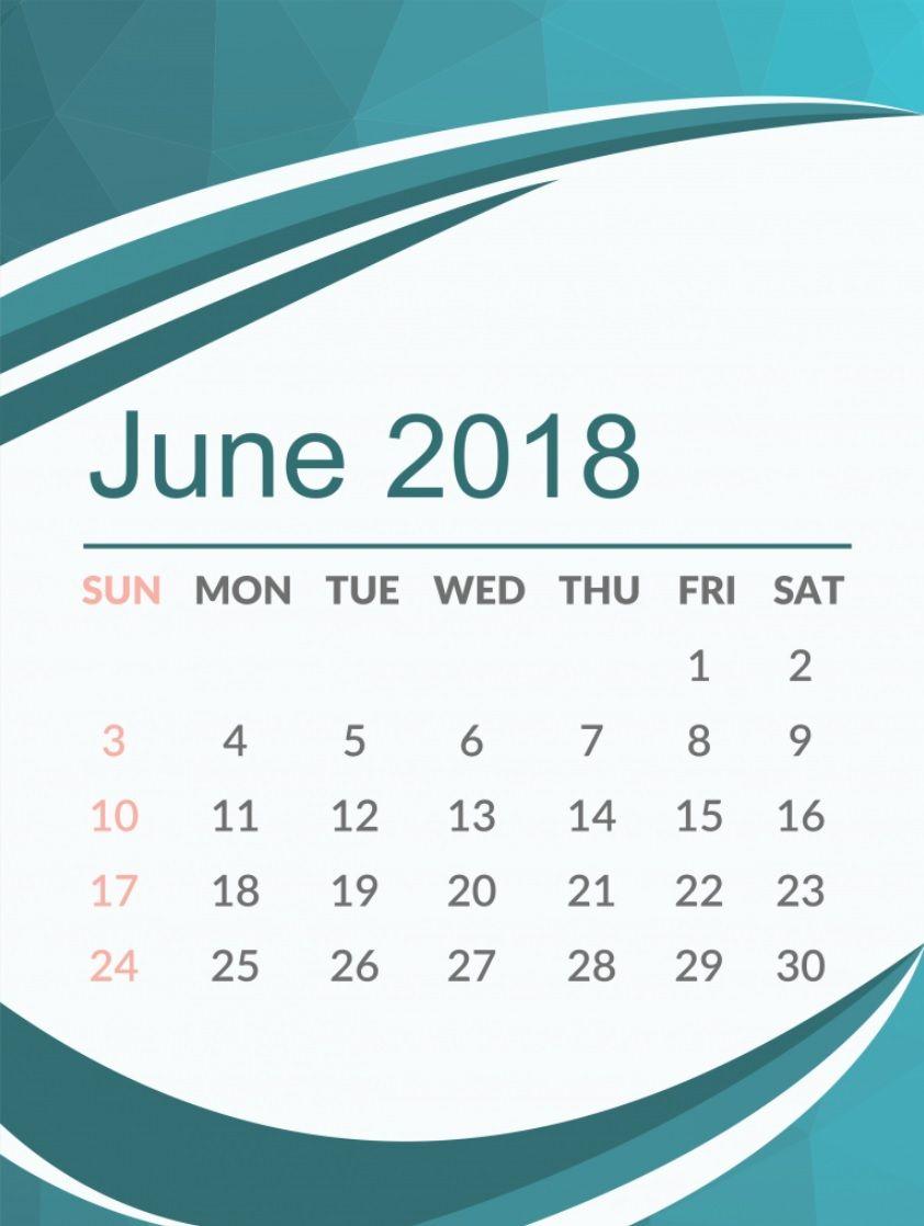 Free June 2018 HD Calendar