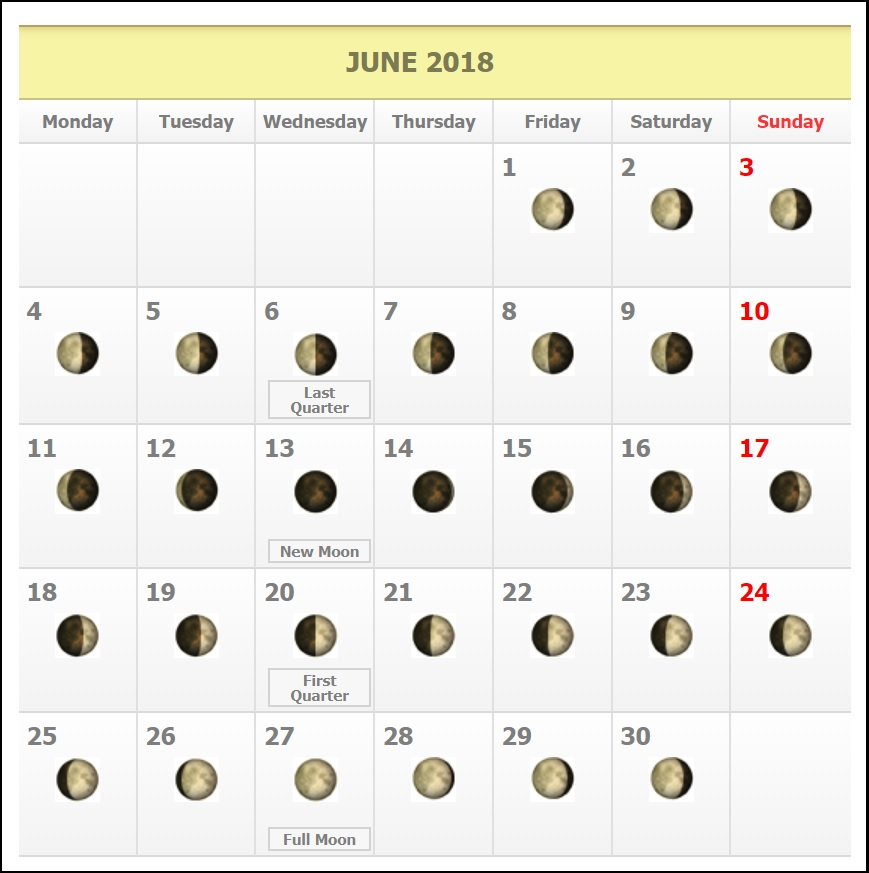 Free June 2018 Moon Phases Calendar