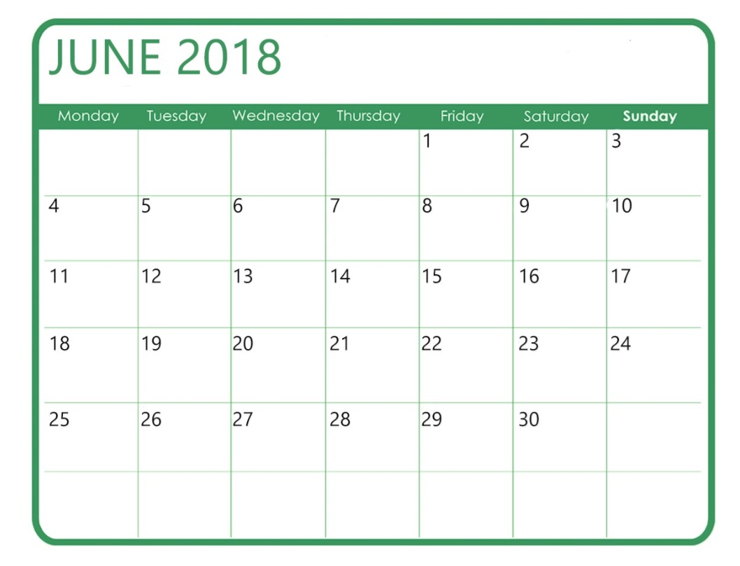 Free June 2018 Waterproof Calendar