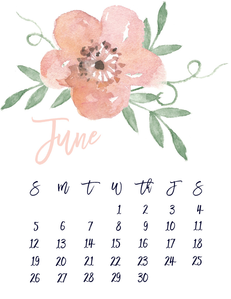 Free Pretty Printable Floral Calendar June 2018