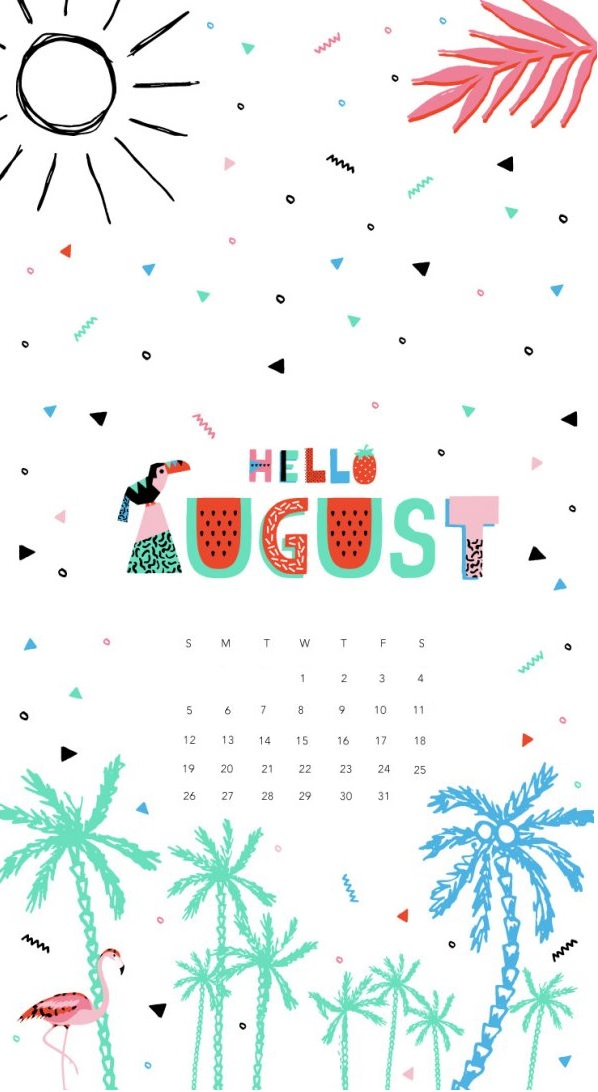 Hello August 2018 iPhone Calendar Wallpapers