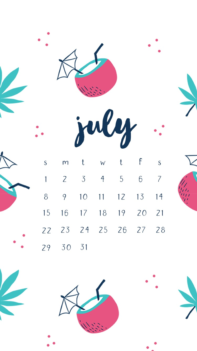Hello July 2018 iPhone Calendar Wallpapers