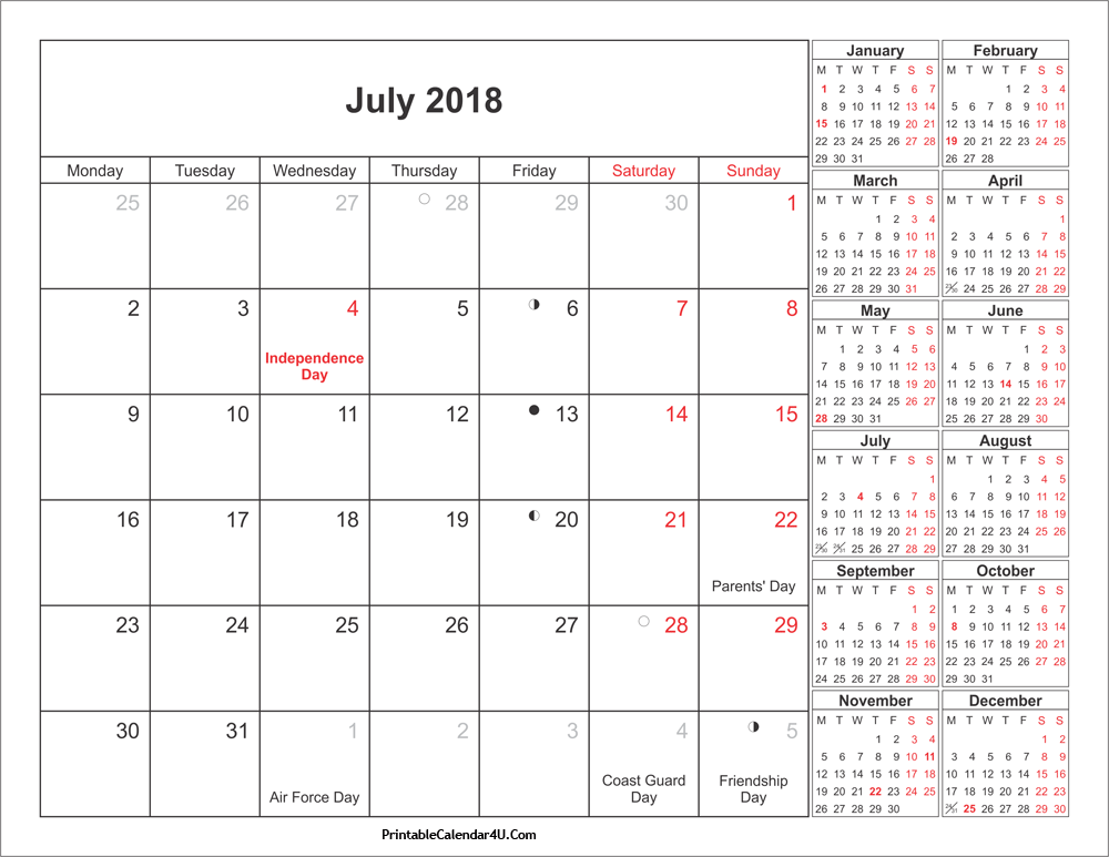 Holiday Calendar July 2018 Download