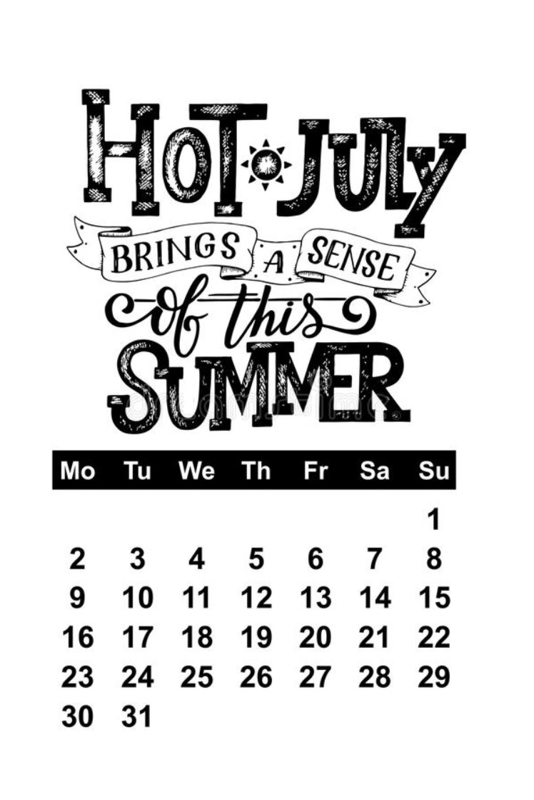 Hot July 2018 Quotes Calendar