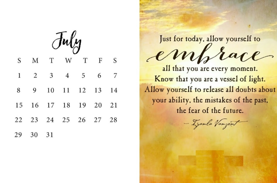 Inspiring July 2018 Quotes Calendar