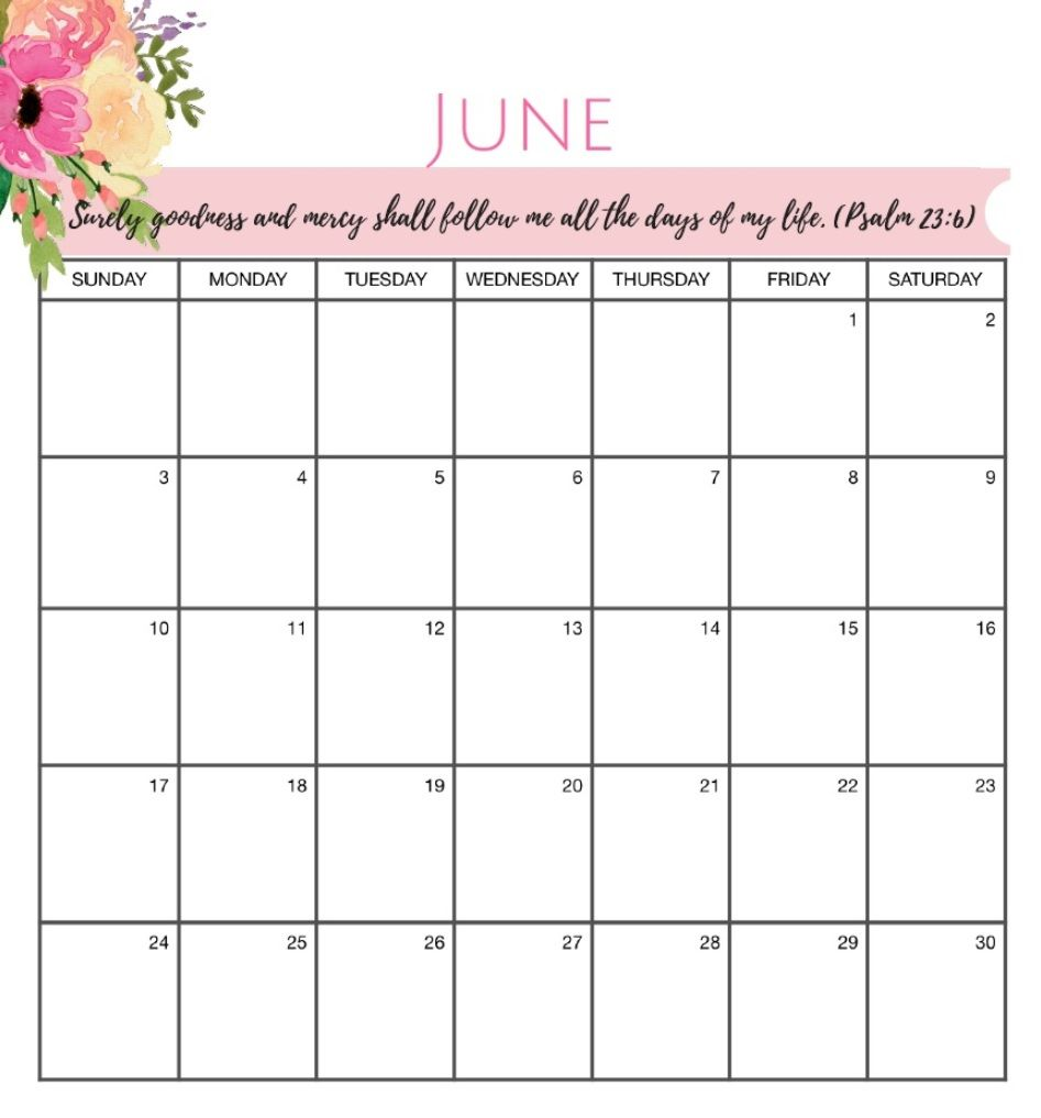 Inspiring June 2018 HD Calendar