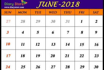 Jewish Calendar 2018 June Month
