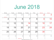 Jewish Calendar June 2018 With Holidays and Festivals
