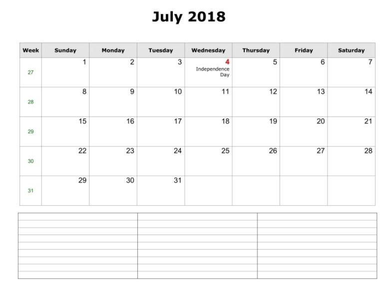 July 2018 Blank Calendar Landscape