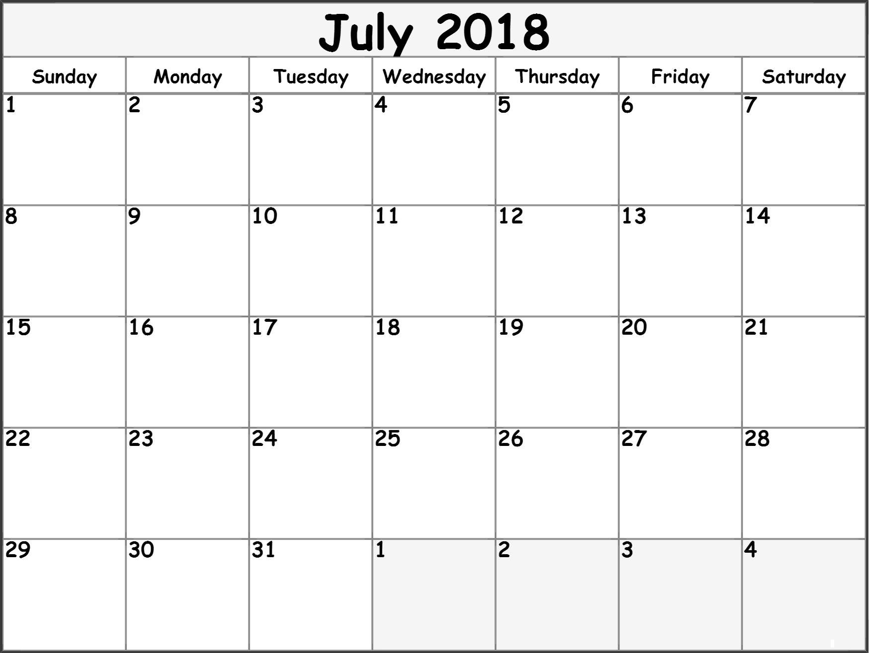 July 2018 Blank Calendars