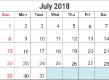 July 2018 Blank Templates Download