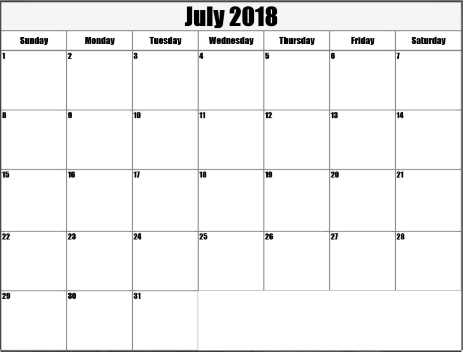 July 2018 Blank Templates