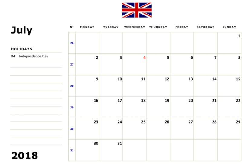 July 2018 Calendar Blank UK