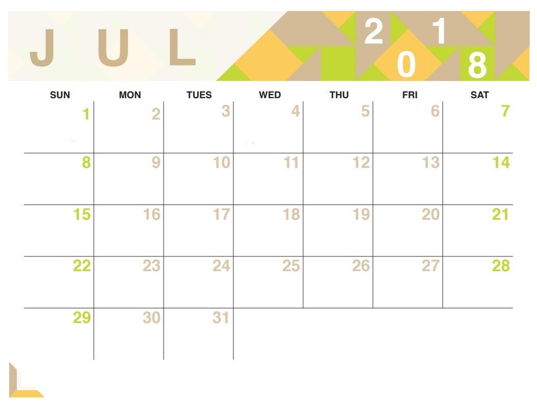 July 2018 Calendar Editable