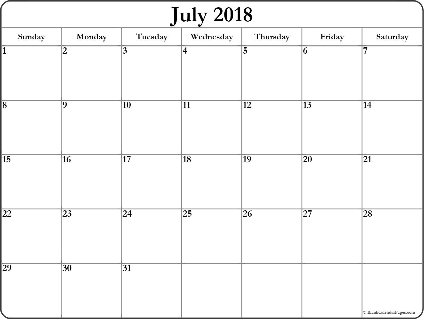 July 2018 Calendar Excel Format