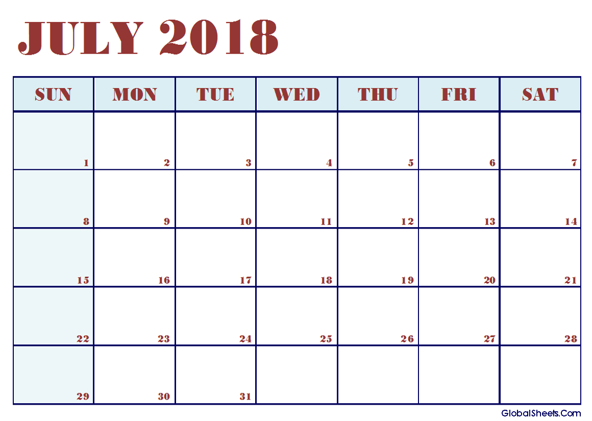 July 2018 Calendar Excel Printable