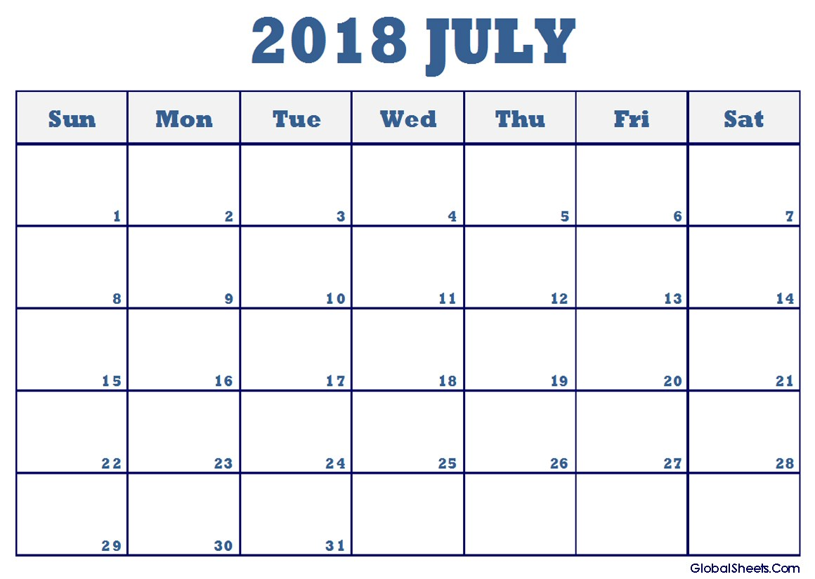 July 2018 Calendar Fillable With Notes