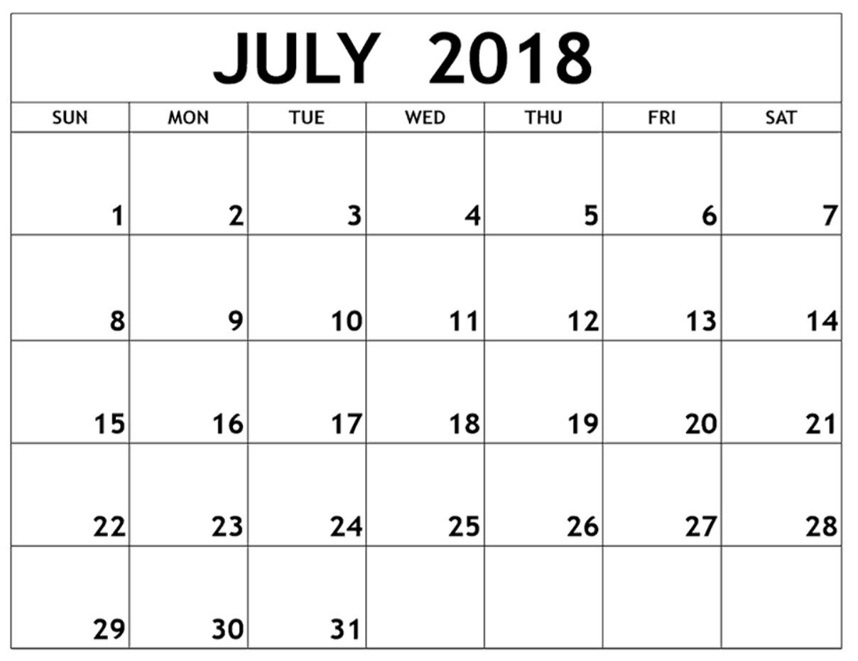 July 2018 Calendar For Australia