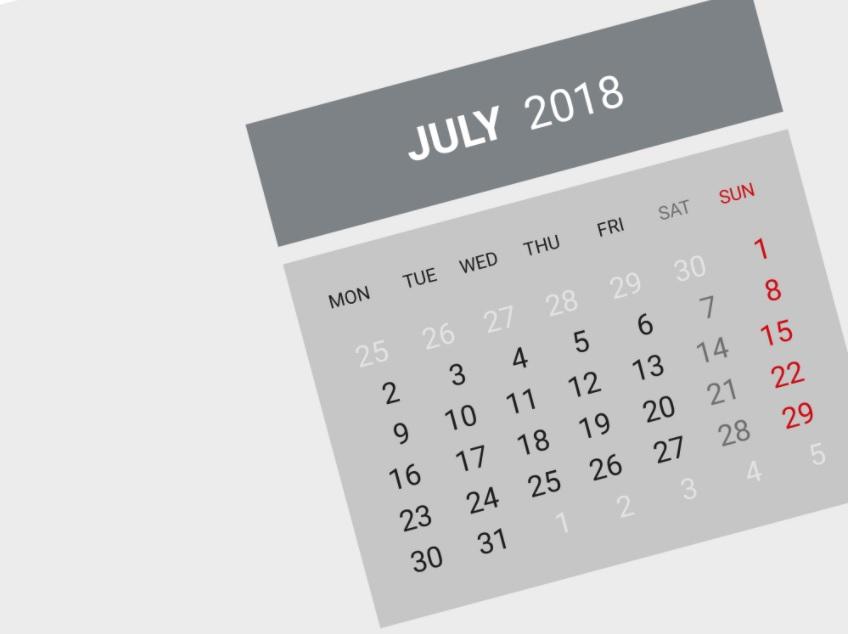 July 2018 Calendar For Office Desk