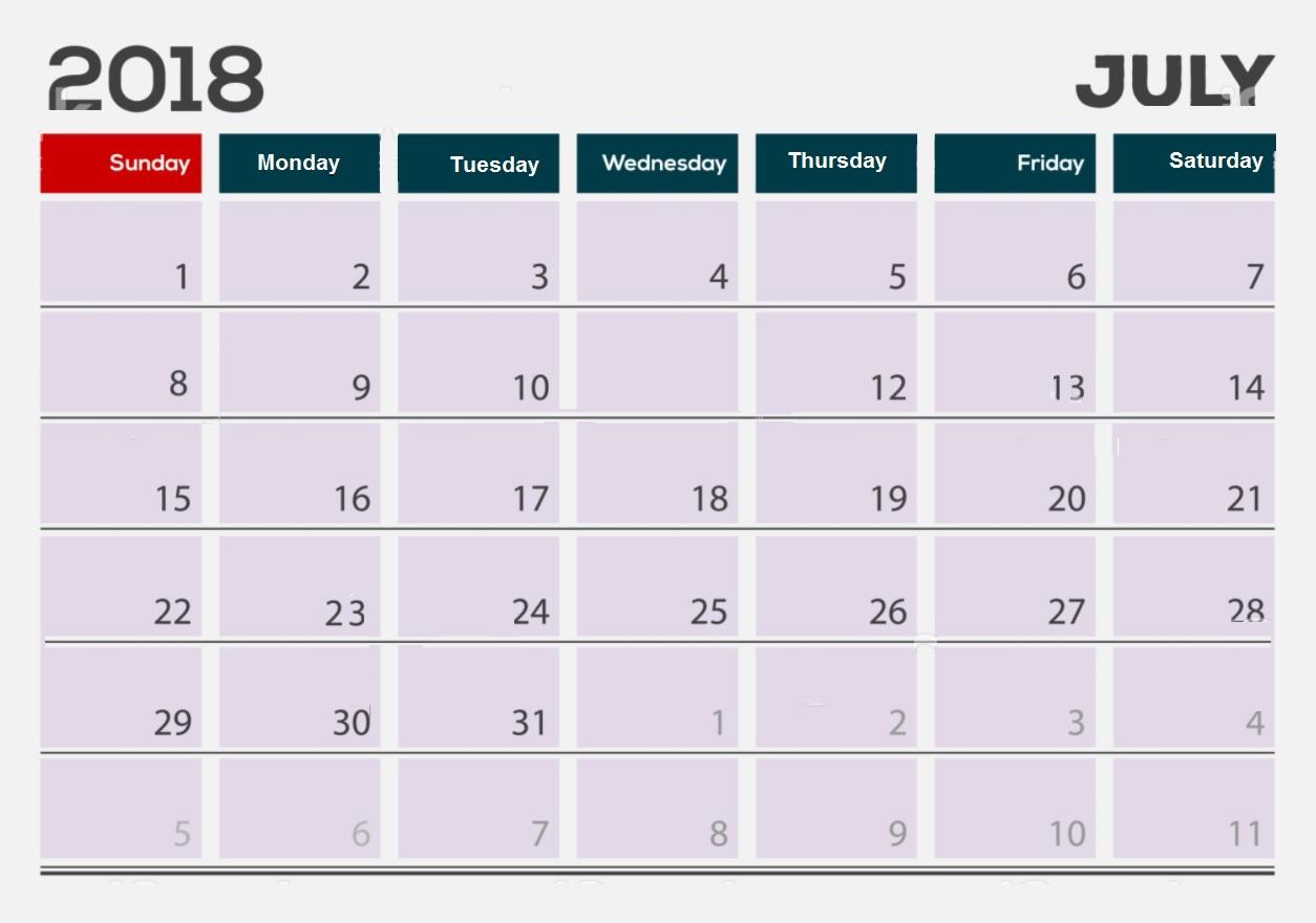 July 2018 Calendar For Office