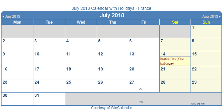 July 2018 Calendar France