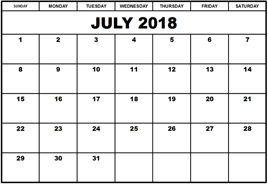 July 2018 Calendar MS Excel