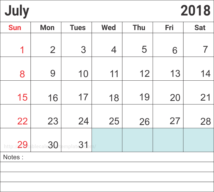 July 2018 Calendar Printable Template With Notes