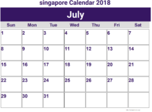 July 2018 Calendar Singapore