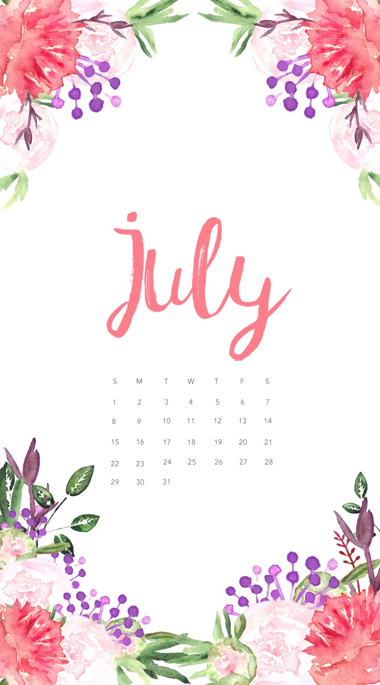 July 2018 Calendar Wallpapers For iPhone