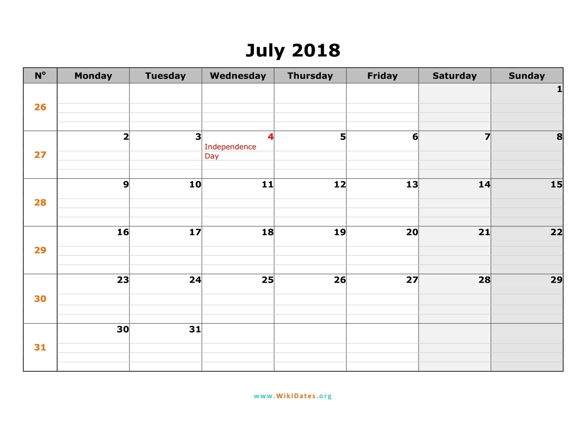 July 2018 Calendar With Bank Holidays