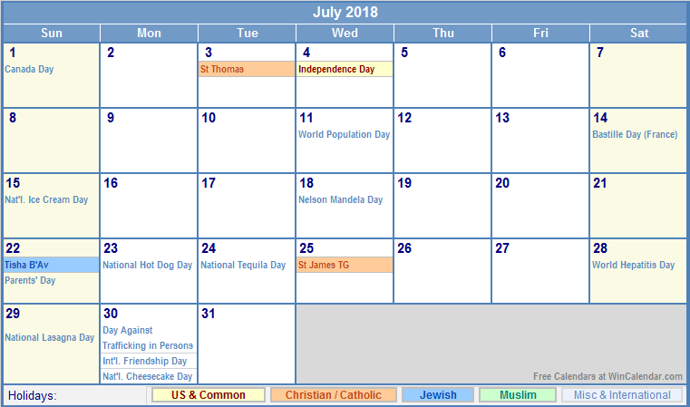 July 2018 Calendar With Holiday List