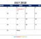 July 2018 Calendar With School Holidays