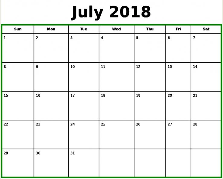 July 2018 Calendar Word Document