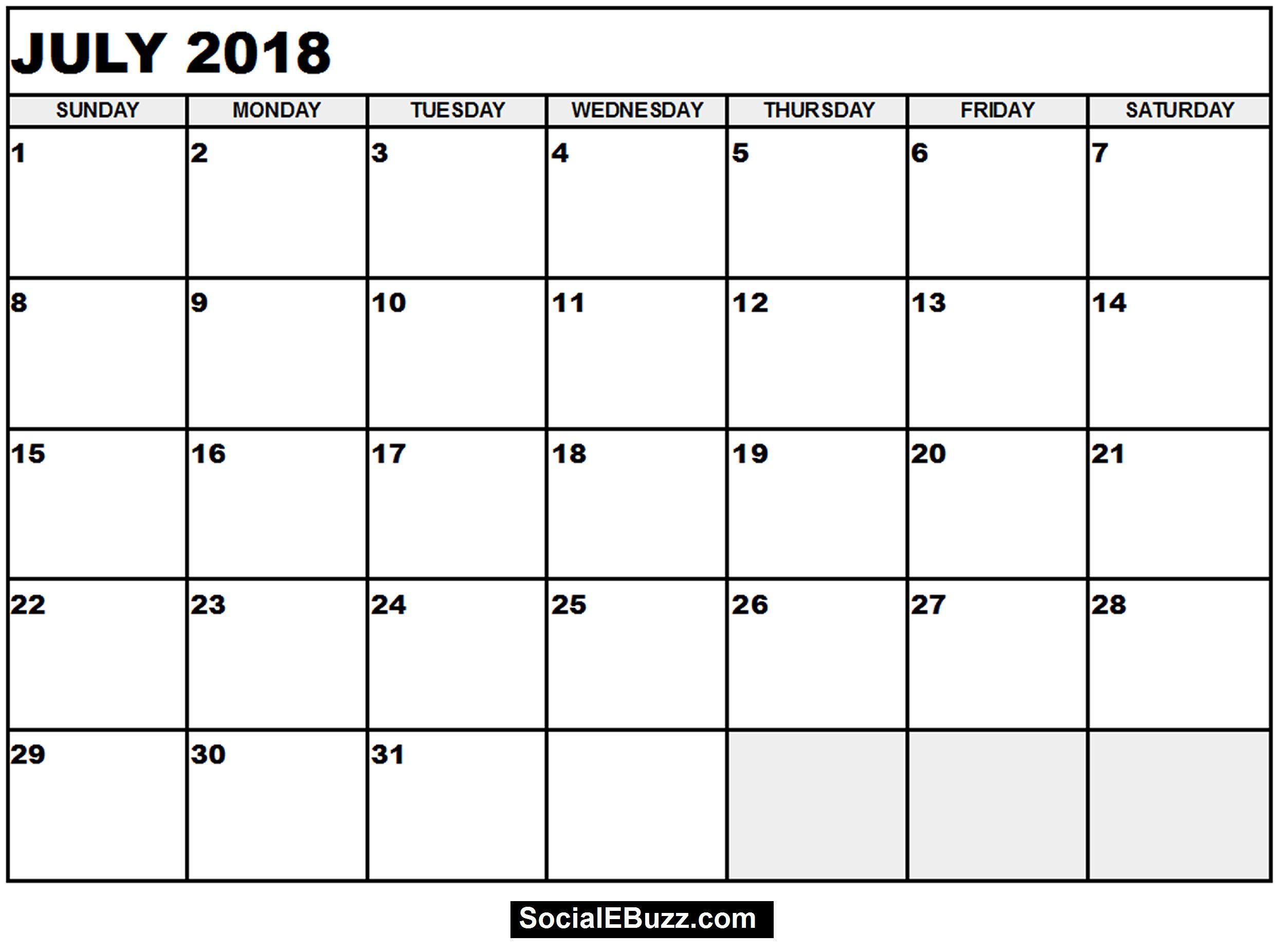 July 2018 Calendar Word Format