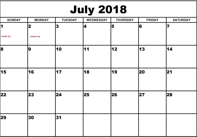 July 2018 Calendar Word Printable